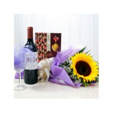 Exotic Sunflower with Wine Bouquet
