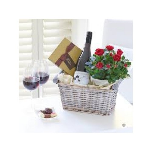 Luxury Rose Wine Basket