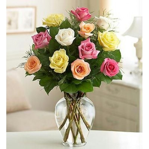 Mix Roses in a vase