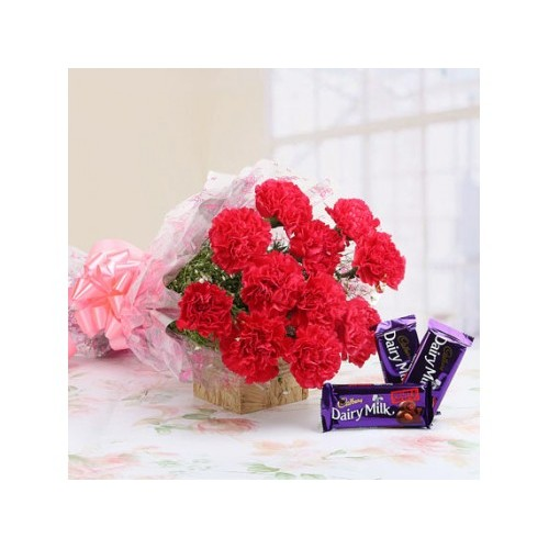 Sweets 'n' Fresh - Red Carnations and Chocolate